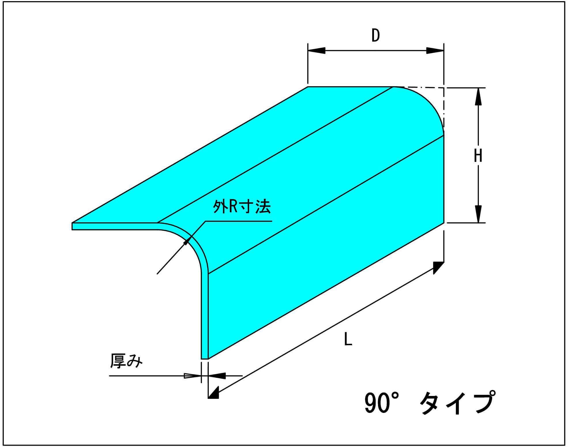 90°R曲げ形状