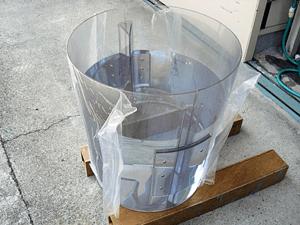 透明塩ビタンク水張り試験